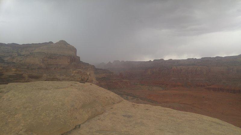 A strong desert storm brews above the San Rafael Swell.