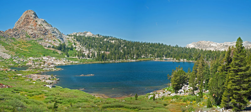 """Snow Lake stands in the shadow of Quartzite Peak. The """"trail"""" to Bigalow Lake goes up the slope to the right of Quartzite Peak."""