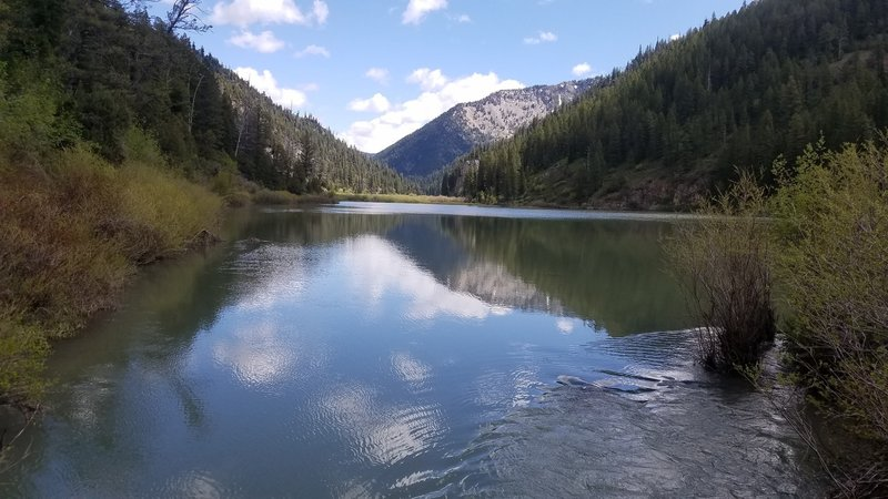 Stop and enjoy the view of Lower Palisades Lake after crossing the creek.