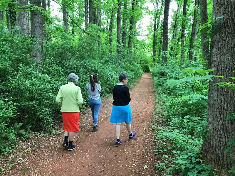 Three generations take a secluded, leisurely stroll through the dense foliage along the Upper Meadow Trail.