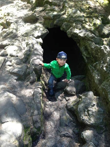 Cole (3.5yrs) exiting the cave.