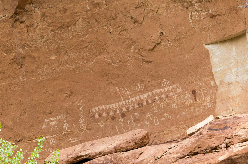 Petroglyphs on the canyon wall