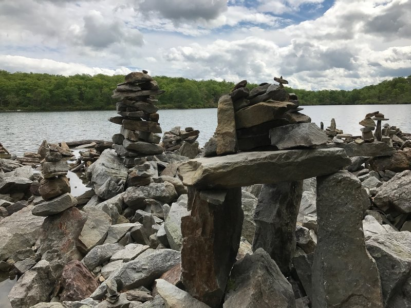 Someone built one or two cairns along the pond's edge.