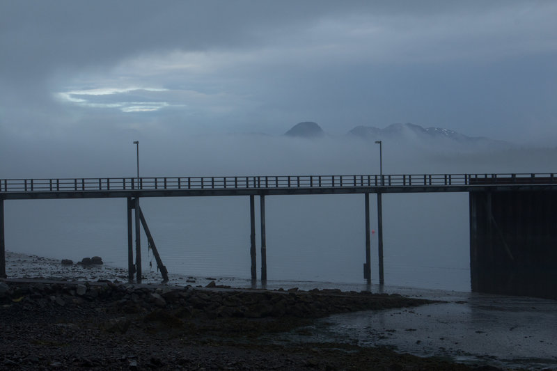 With constantly changing weather, views can be obstructed by clouds and fog. Here is a brief glimpse of the peaks from the dock at the Visitor Center.
