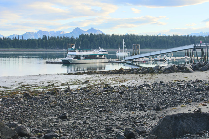 Enjoy great views from the Beach Trail toward the boat dock and towering peaks in the background.