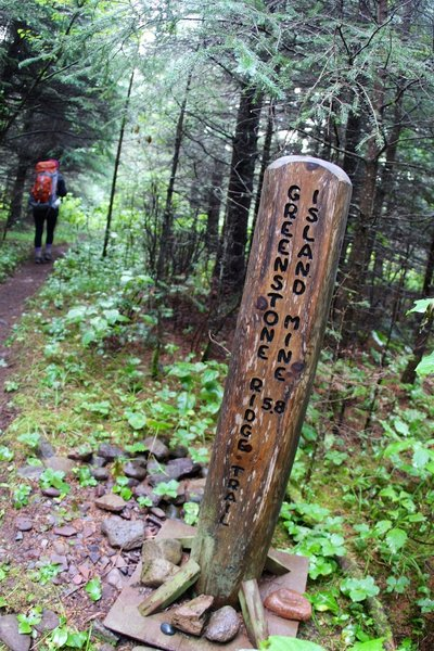 Great trail markers help you find your way at the Greenstone Ridge Trail junction.