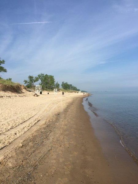 The trail runs right along the shore of the big lake.