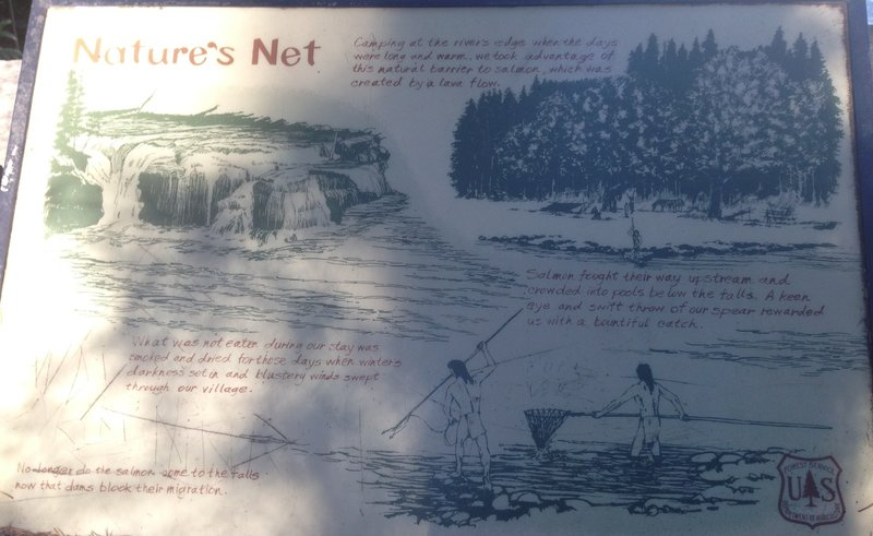 Informational signs along the trail tell of the history of the falls, formed by a lava flow.