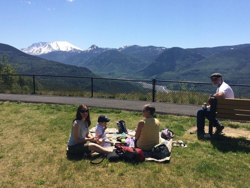 Enjoying a lunch break near the Forest Learning Center.