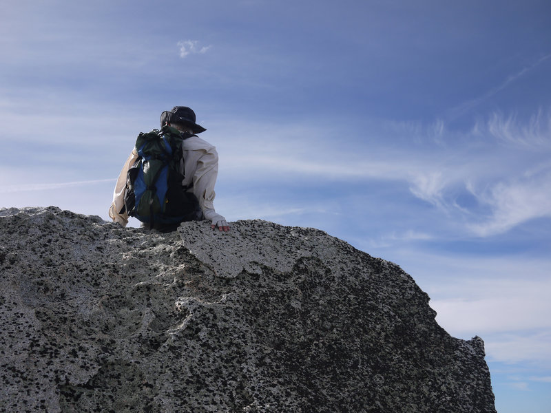 A hiker takes in the view from Fuller Ridge.