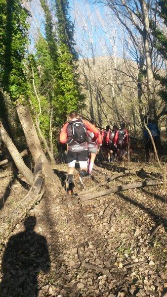 The group makes its way to the Bonzai Climb!