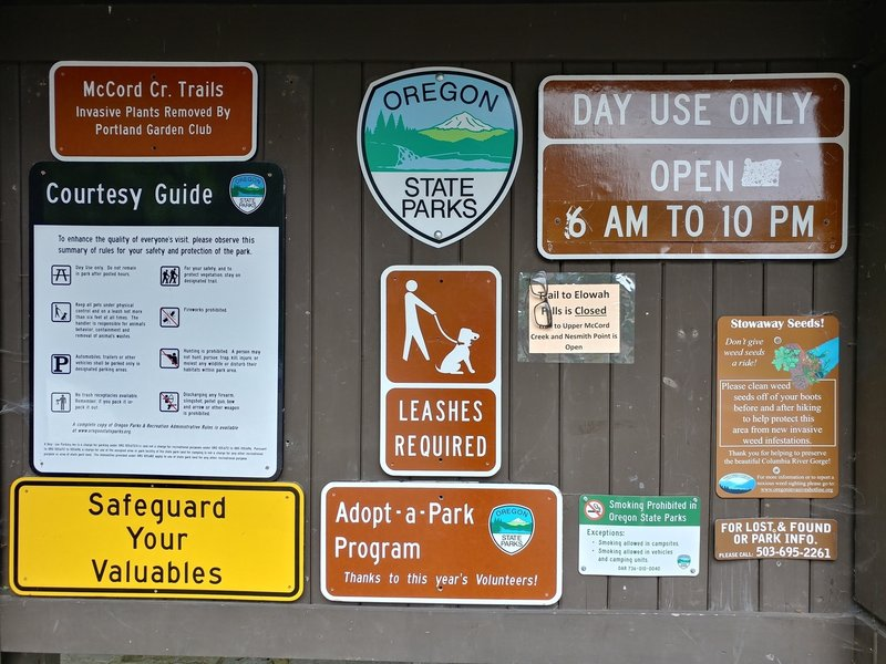 An informative kiosk gives you plenty of information at the John B. Yeon Trailhead.