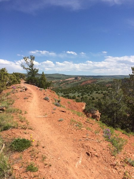 The Red Ridge Trail, that ties into the Johnny Draw Trail, is narrow singletrack on red rock with excellent views of the surrounding basin and the Wind River Range.