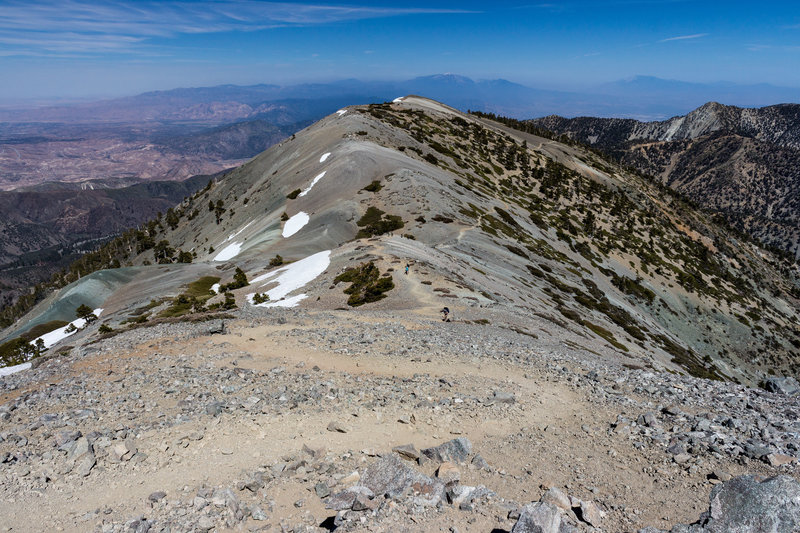 The final ascent to Mt. Baldy up the Devil's Backbone Trail.