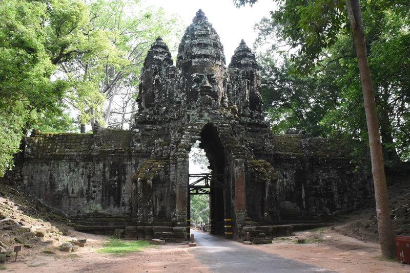 Looking north at the North Gate of Angkor Thom.