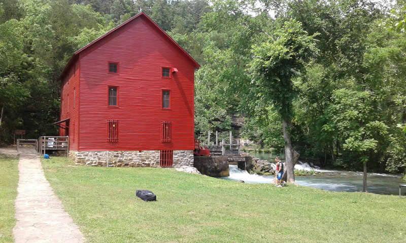 Be sure to stop and check out the mill at Alley Spring! From this view, the trail heads up and to the left.
