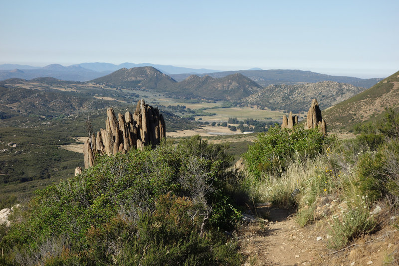 Small pinnacles flank the Pacific Crest Trail on the way to Kitchen Creek.