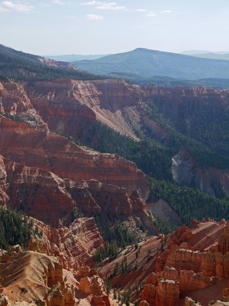 Fins at Cedar Breaks with Blowhard Mountain in the background seen from the Chessman Ridge Overlook