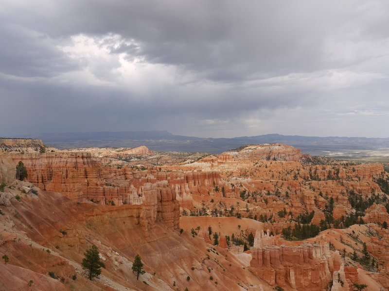 Storm clouds east of Bryce Canyon and the Rim Trail.