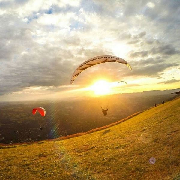 Top of the World Flying Camp makes for a great trailside spectacle on an early morning on the mountain.