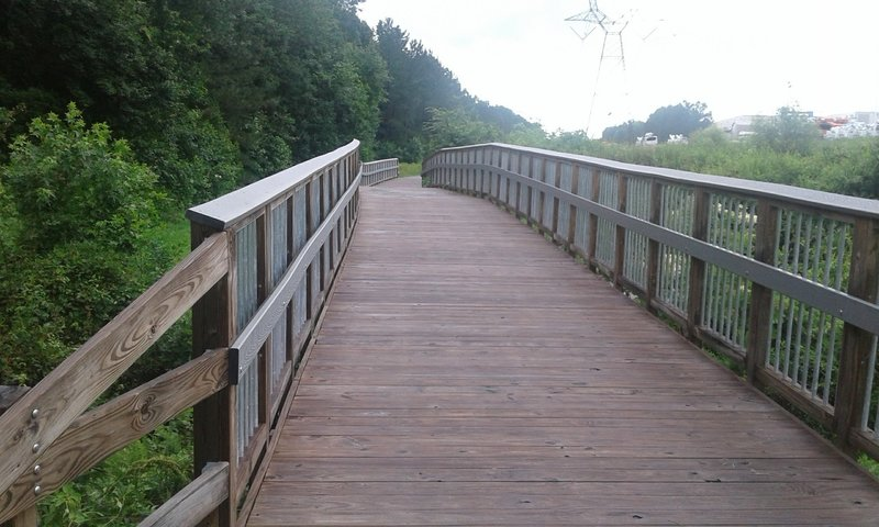 This is the Duck Pond Trail's first boardwalk that looks to East Lyon Station Road.