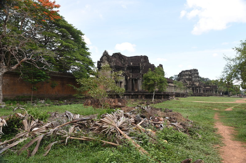 Looking back at the West entrance of Angkor Wat from the north.