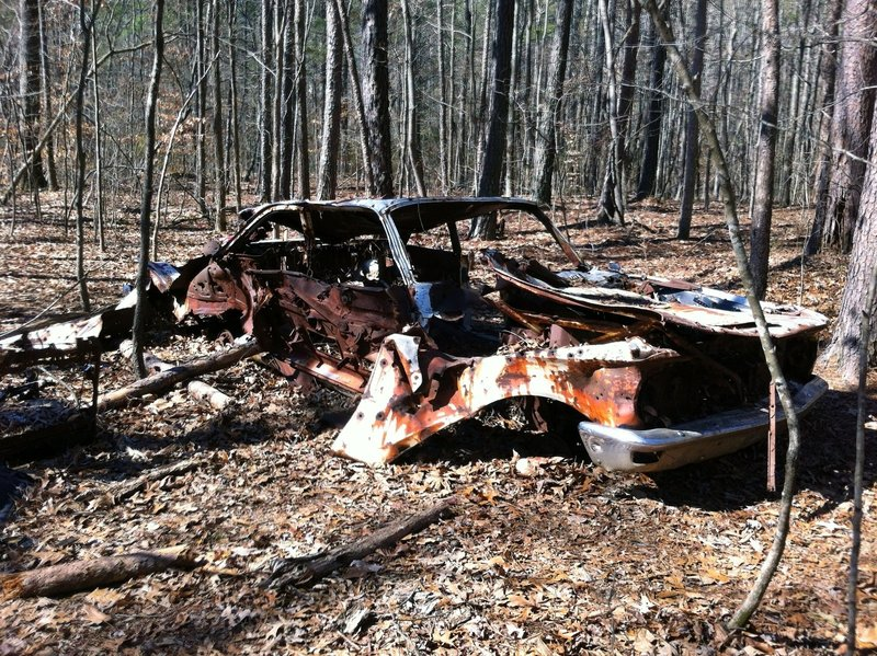 Not much is left of this rusting car along the Gold Branch Trail.