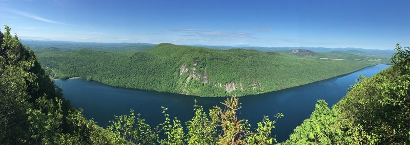 Panoramic view west towards Lake Willoughby and Mt. Hor from the post-summit lookout.