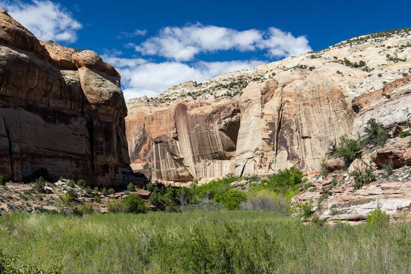 Toward the waterfall, the canyon narrows.