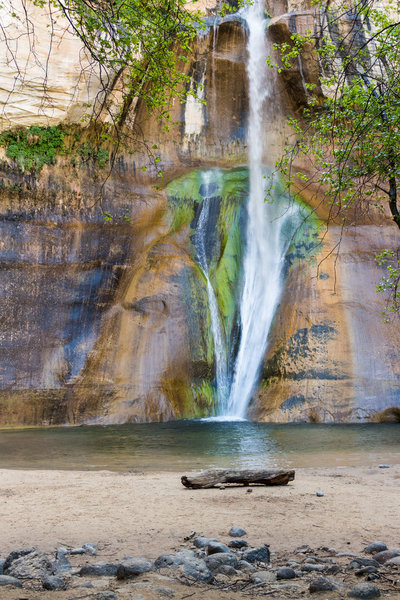 Lower Calf Creek Falls and its impressive colorful alcove.