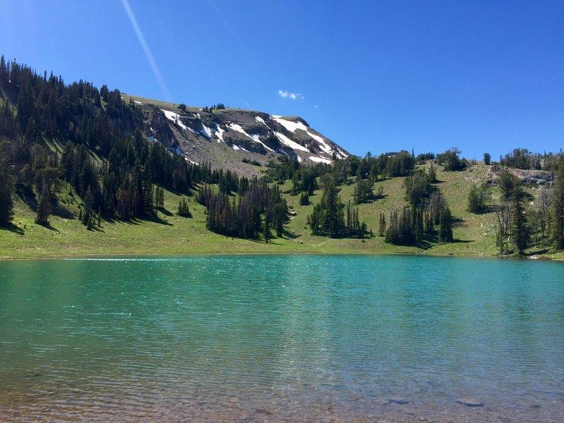 Clark Lake shines under a June bluebird sky.