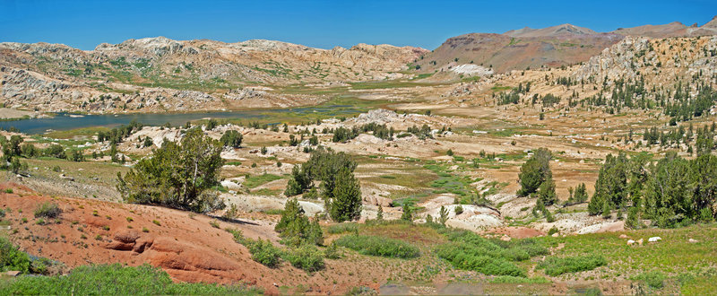 Emigrant Meadow Lake. Notice the contact zone on the ridge: all granite to the west and all metamorphic rock to the east