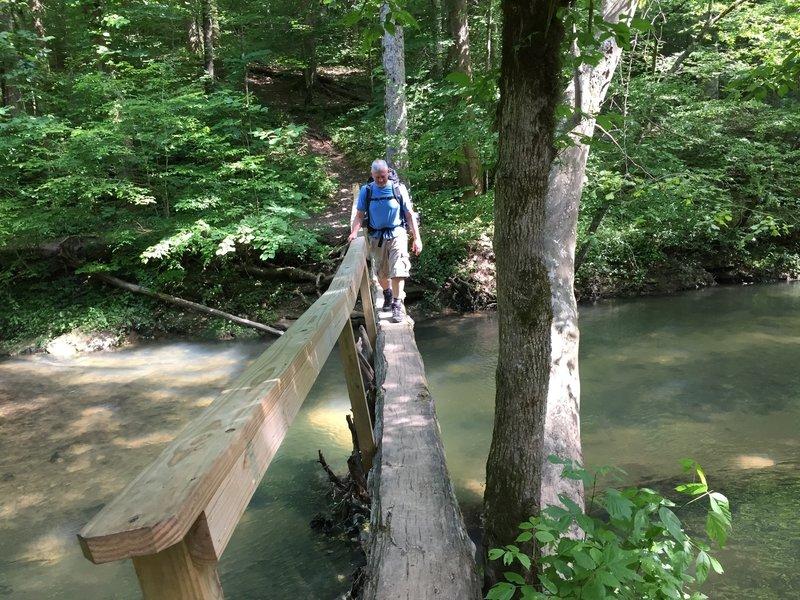 A fun log bridge over Hurricane Creek.