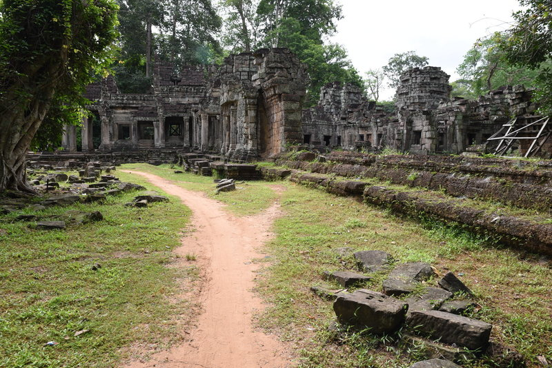 Crumbling walls and pillars make for a surreal scene on the Preah Khan Trail.