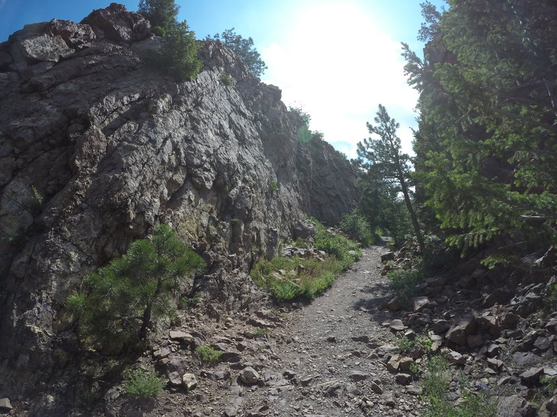 going through the pass on the Fowler Trail.