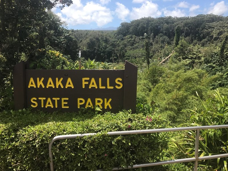 A barely visible Akaka falls from the parking lot.
