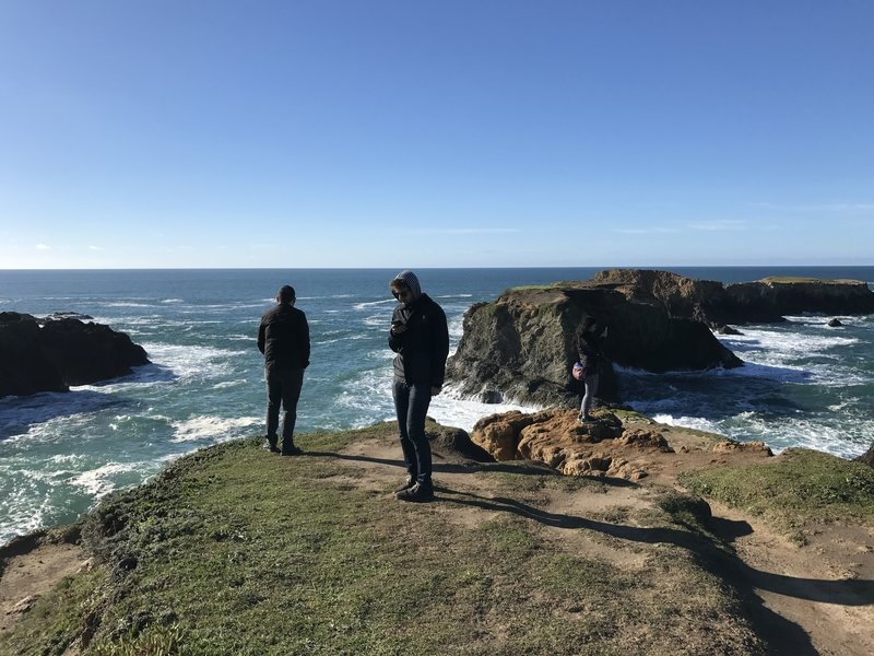 Our group explores a cliff just west of the Mendocino Headlands Coastal Trail.