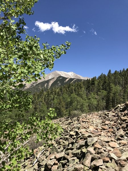 Enjoy great views of East Spanish Peak from the Wahatoya Trail.