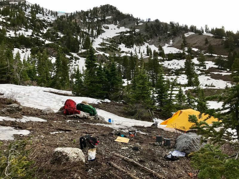 It's hard to avoid camping in the snow in the early summer.