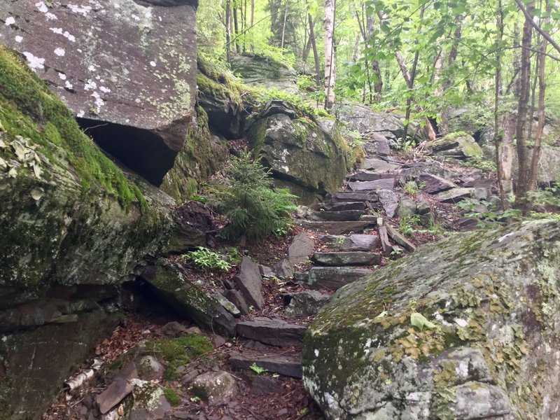 Be careful as you navigate these sharp rock steps.
