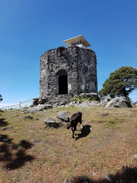 The top of San Miguel is capped by these ruins and the nearby observation tower.