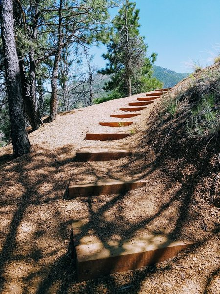 Winding stairs on trail assist you with the ascending terrain.