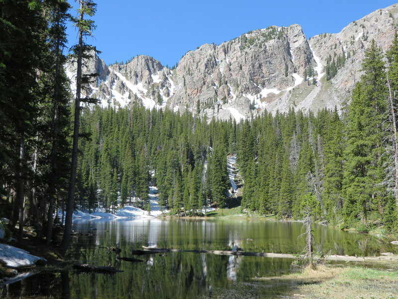 East Trampas Lake glimmers in the afternoon sun.