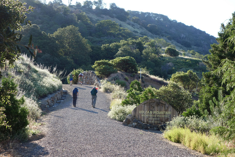 Early morning hikers make their way to the start of the Volcan Mountain Wilderness Preserve.