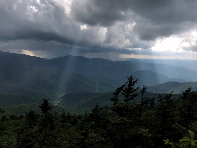 The storms are on their way as we head up Mt. Mitchell from Bolen's Creek through Deep Gap.