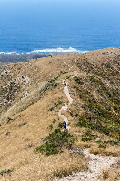 The Valencia Peak Trail travels right along the ridgeline.