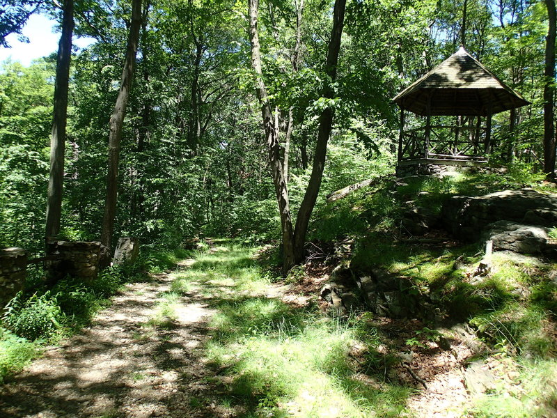 A gazebo stands in the middle of nowhere along the Osborn Loop Trail.