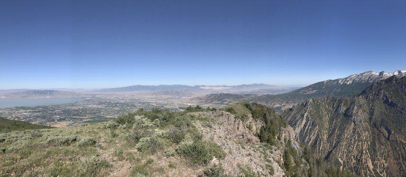 Phenomenal vistas of Lone Peak, the Great Salt Lake (right), and Utah Lake (left) await atop Mahogany Mountain.