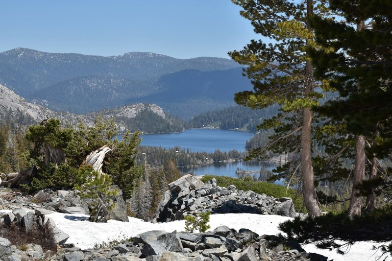 You'll enjoy a great view looking over Upper and Lower Echo Lakes from the trail to Tamarack Lake.