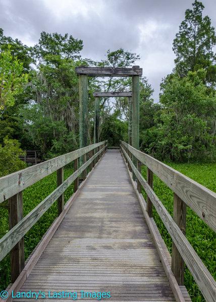Crossing the waterway is made easier by this nice bridge.